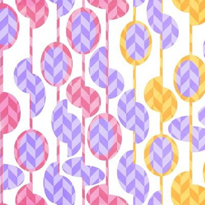 Beads and seeds pink yellow lilac on white