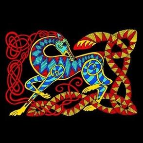 Celt Hound red blue gold on black