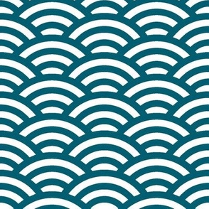 scalloped waves in lagoon teal and white