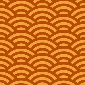 scallops in terracotta orange and saffron yellow