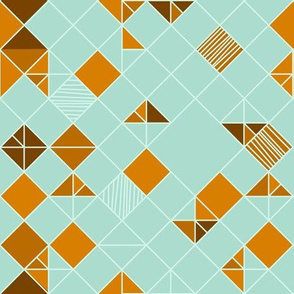 square grid in mint and orange