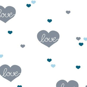 Sweet little lovers hearts romantic confetti valentine love nursery print blue