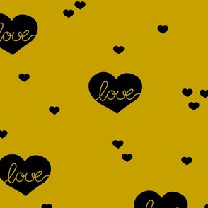 Sweet little lovers hearts romantic confetti valentine love print gender neutral mustard yellow