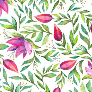Pink and Purple Watercolor Floral