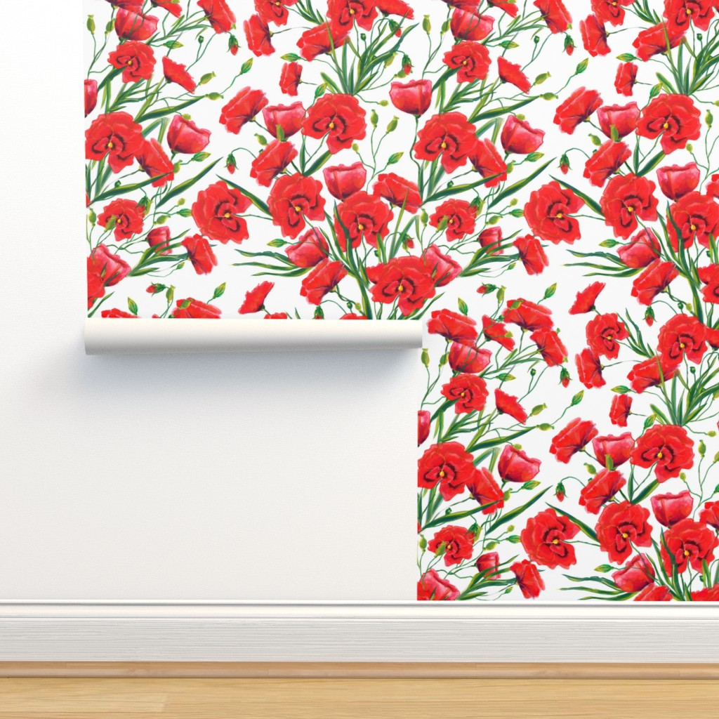 Isobar Durable Wallpaper featuring watercolor red poppy flowers  by nina_savinova