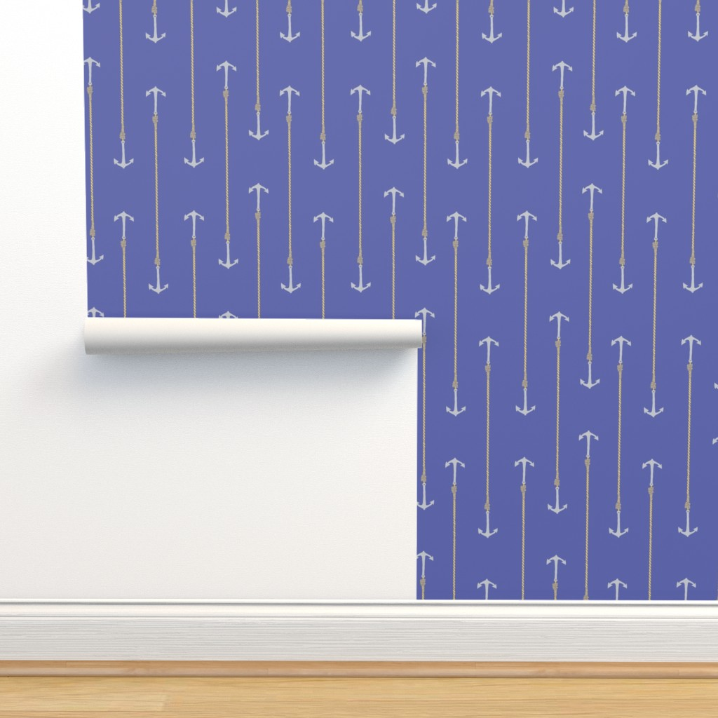 Isobar Durable Wallpaper featuring Anchors and Ropes blue by jaanahalme