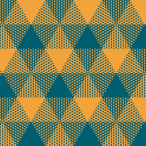 large triangle gingham - lagoon teal and saffron yellow