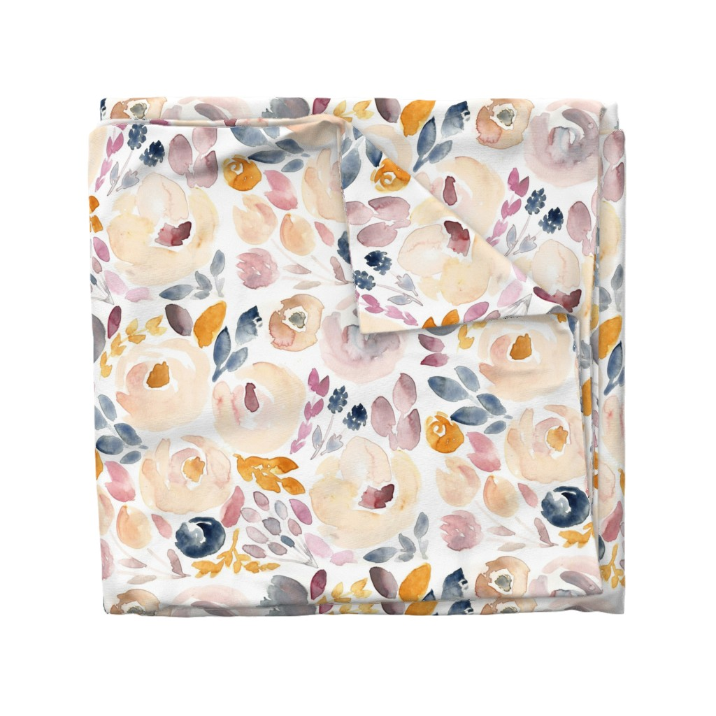 Wyandotte Duvet Cover featuring Soft Floral Fall Watercolor  by smallhoursshop