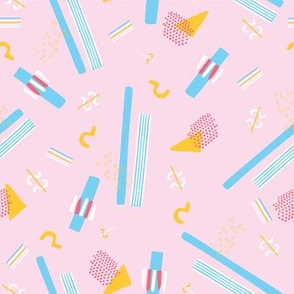 Memphis Style Geometric Abstract Seamless Vector Pattern Pink and Blue