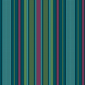 Madras Stripe- plum and evergreen