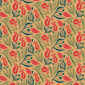 deco tulip_13.5_red green on camel