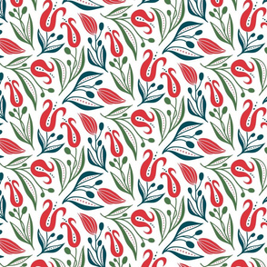 deco tulips- red and gren on white