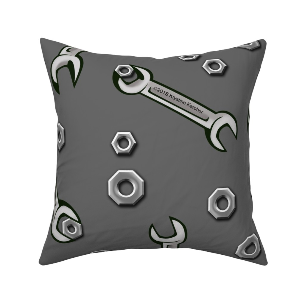 Catalan Throw Pillow featuring Nuts and Wrenches on Gray by ms__contrary