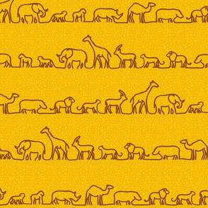Safari Outlines on Mustard