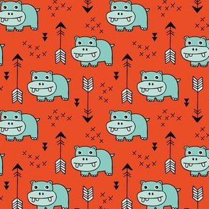 Cute little baby hippo kids fabric design in mint red
