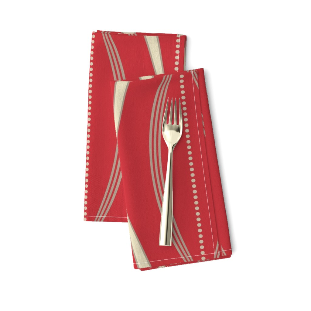 Amarela Dinner Napkins featuring JETSON - Mulberry red & cream  by incognitoshop