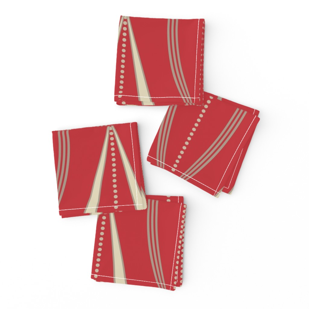 Frizzle Cocktail Napkins featuring JETSON - Mulberry red & cream  by incognitoshop