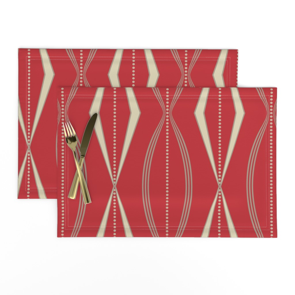 Lamona Cloth Placemats featuring JETSON - Mulberry red & cream  by incognitoshop