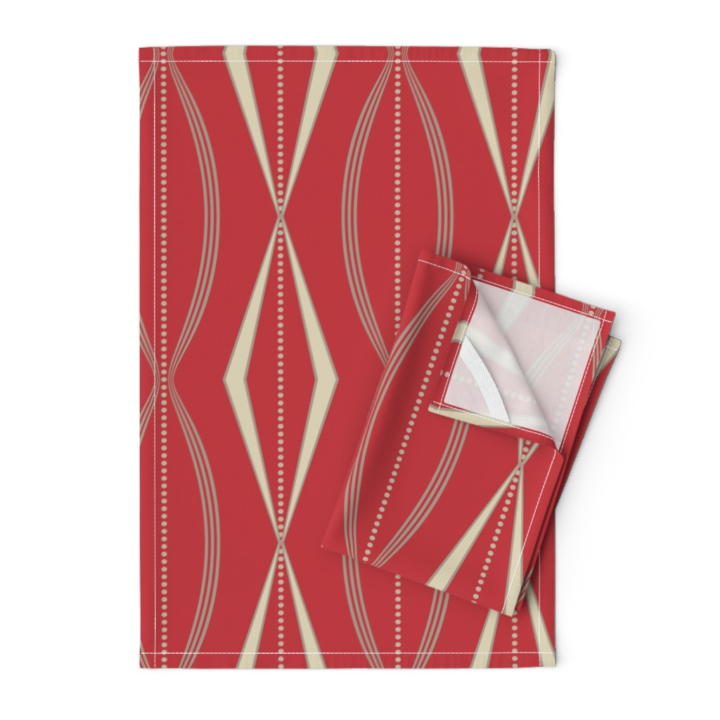 Orpington Tea Towels featuring JETSON - Mulberry red & cream  by incognitoshop
