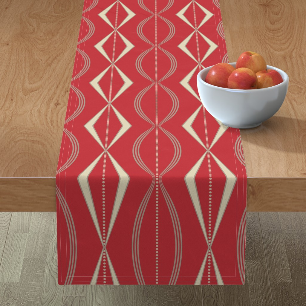 Minorca Table Runner featuring JETSON - Mulberry red & cream  by incognitoshop