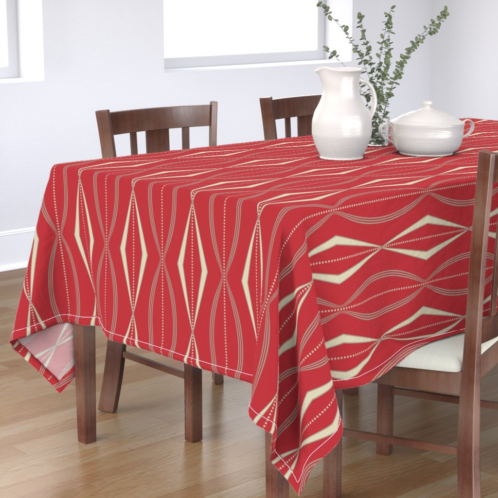 Bantam Rectangular Tablecloth featuring JETSON - Mulberry red & cream  by incognitoshop