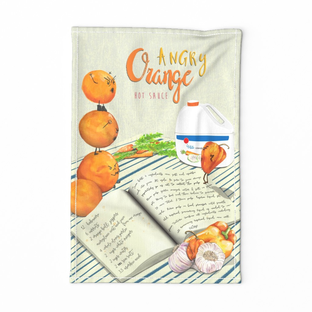 Special Edition Spoonflower Tea Towel featuring Angry Orange Hot Sauce Tea Towel by red_kat