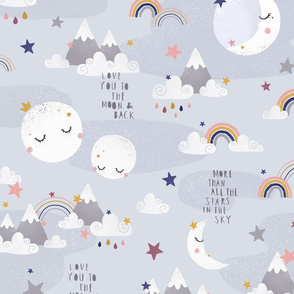 Love you to the moon and back - grey