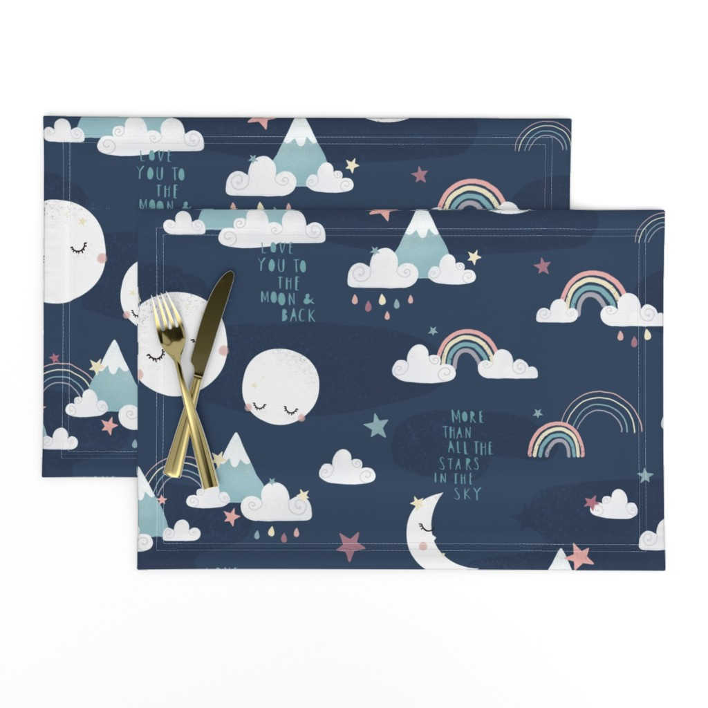 Lamona Cloth Placemats featuring Love you to the moon and back - navy blue by ewa_brzozowska