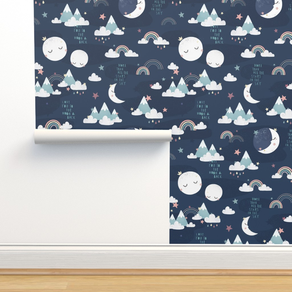 Isobar Durable Wallpaper featuring Love you to the moon and back - navy blue by ewa_brzozowska