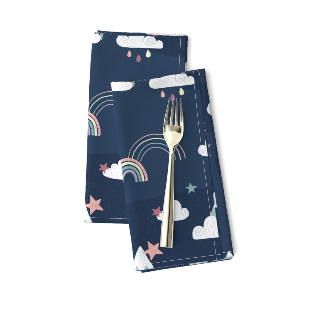 Amarela Dinner Napkins featuring Love you to the moon and back - navy blue by ewa_brzozowska