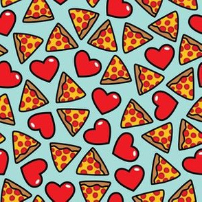 aloha pizza with hearts on aqua
