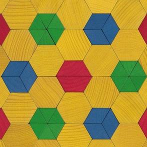 pattern blocks - hexagon polkadots on yellow