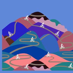Mountain rides at night - bag or cushion panel