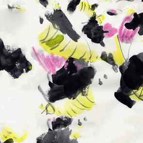 Abstract mark making pink yellow black