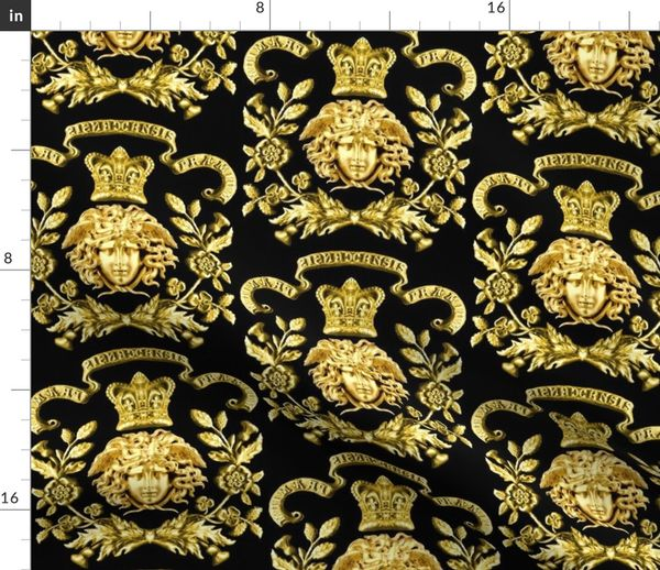 6a417a5911 3 versace inspired medusa gold flowers floral leaves leaf crown baroque  victorian coat of arms clover