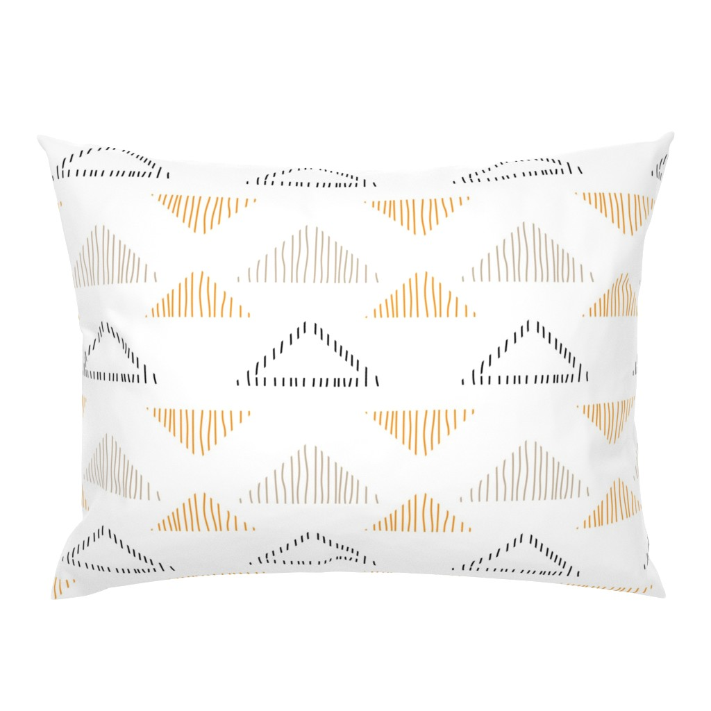 Campine Pillow Sham featuring Drawn Tribal Triangles by sobonnydesigns