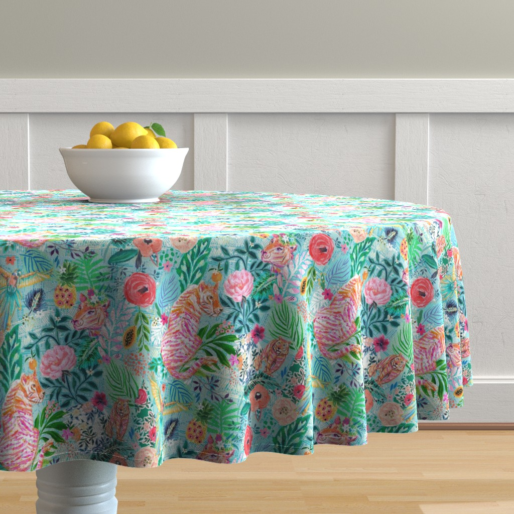 Malay Round Tablecloth featuring Wildwood by jeanetta_gonzales
