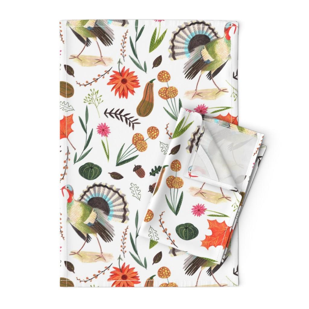 Orpington Tea Towels featuring Thanksgiving Turkeys  // orange & brown floral leaves little girls fabric by caroline_bonne_muller