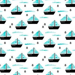 Watercolor sailing boat under water ocean life marine anchor boats blue SMALL