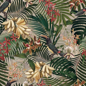 """18"""" Tropical Night - Toucan in palm jungle with tropical flowers and bananas - sepia"""