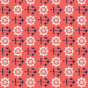 Anchors Away - Nautical Red & Blue Rotated