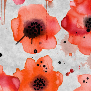 poppies on light gray large scale
