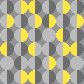 Retro circles Ultimate Gray Illuminating Yellow 70s Wallpaper Fabric