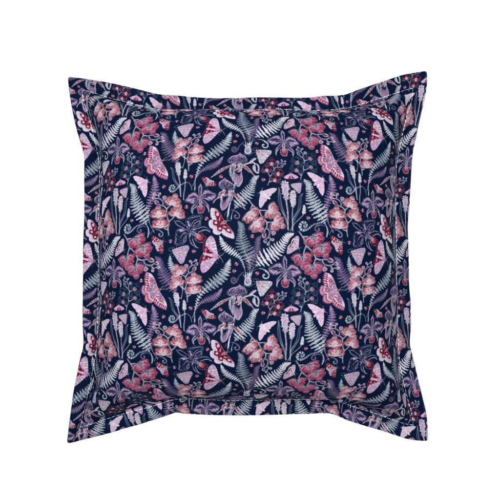 Serama Throw Pillow featuring Orchid Botanical Study (navy) small by helenpdesigns