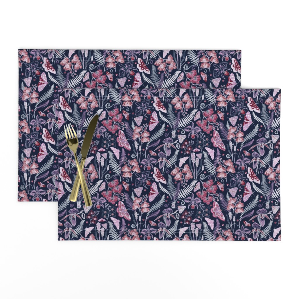 Lamona Cloth Placemats featuring Orchid Botanical Study (navy) small by helenpdesigns