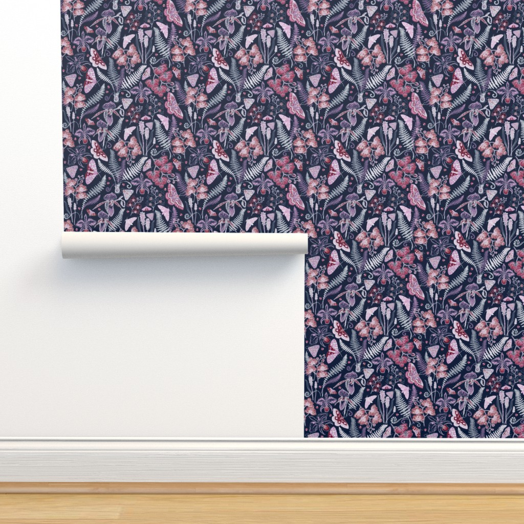 Isobar Durable Wallpaper featuring Orchid Botanical Study (navy) small by helenpdesigns