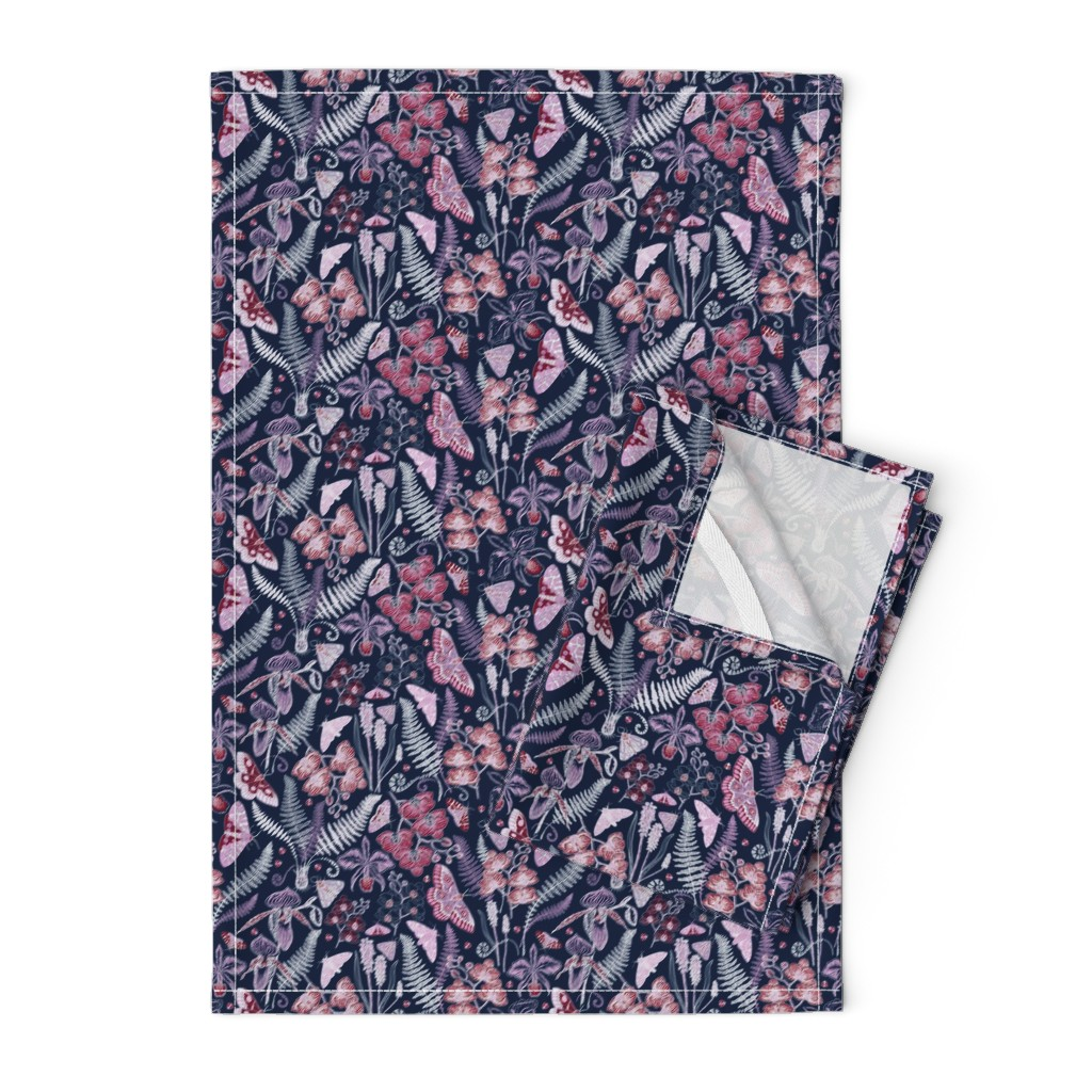 Orpington Tea Towels featuring Orchid Botanical Study (navy) small by helenpdesigns