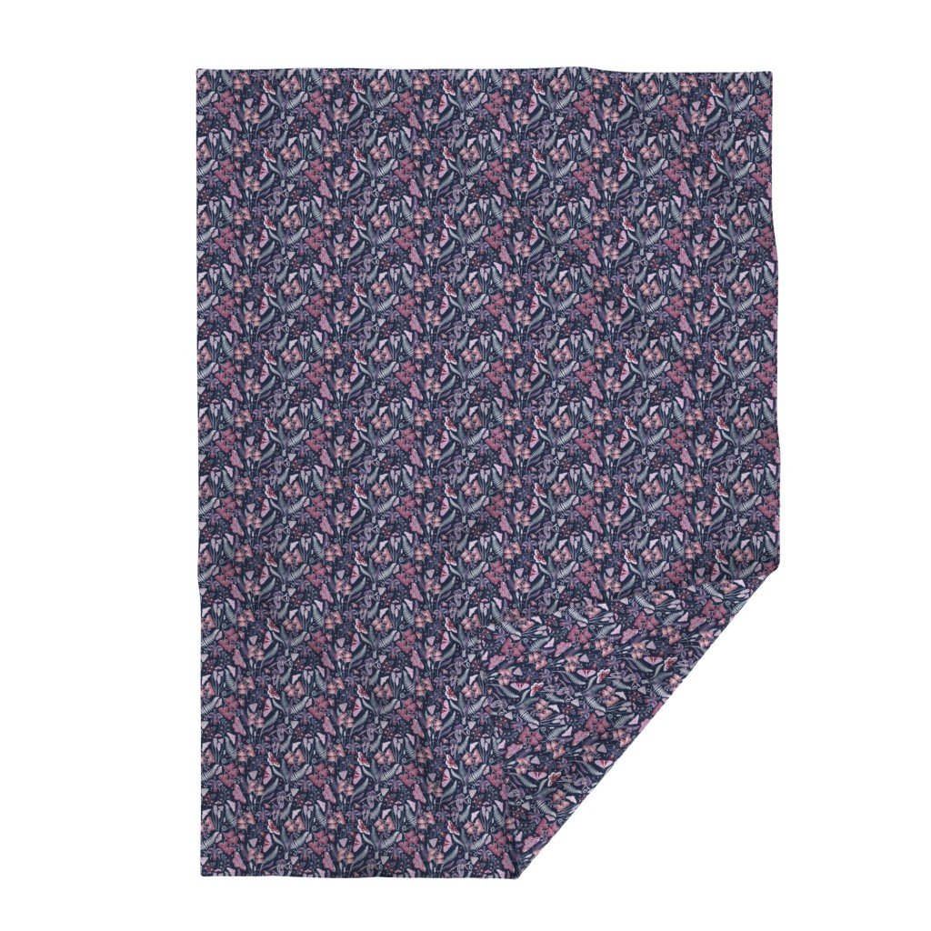 Lakenvelder Throw Blanket featuring Orchid Botanical Study (navy) small by helenpdesigns