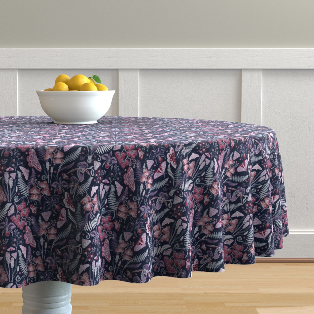 Malay Round Tablecloth featuring Orchid Botanical Study (navy) small by helenpdesigns