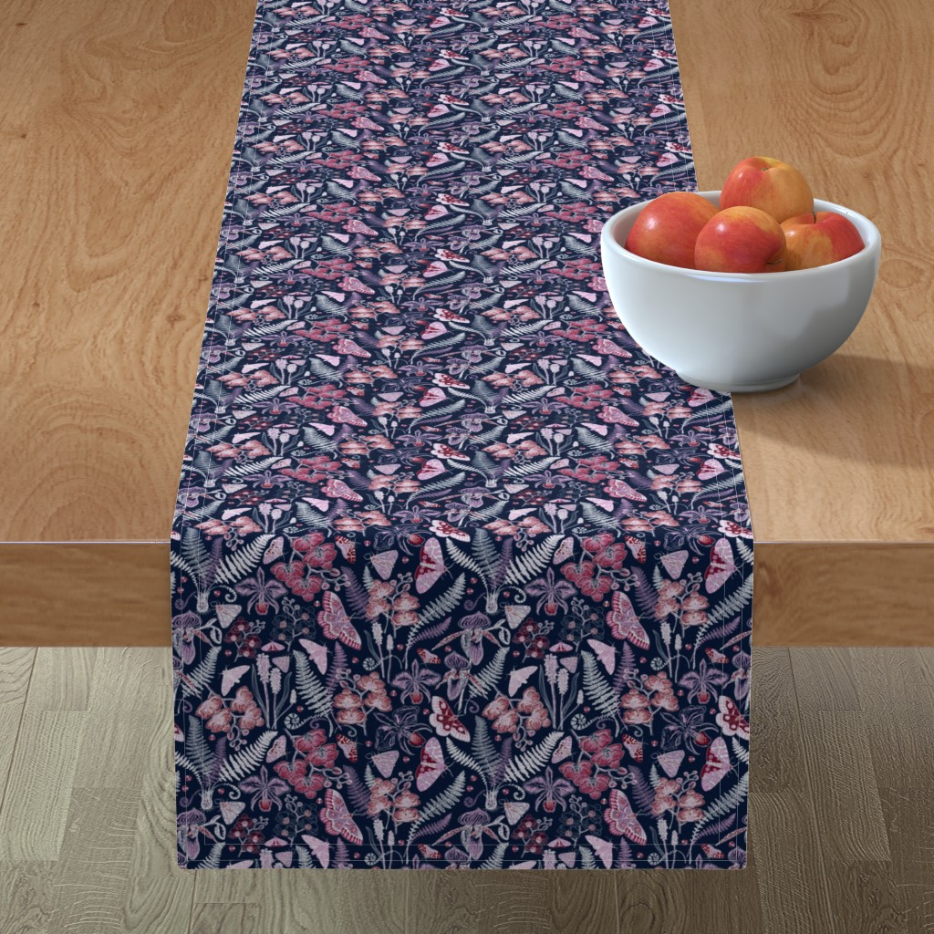 Minorca Table Runner featuring Orchid Botanical Study (navy) small by helenpdesigns
